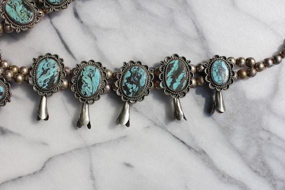 Vintage Turquoise Squash Blossom Necklace - image 5