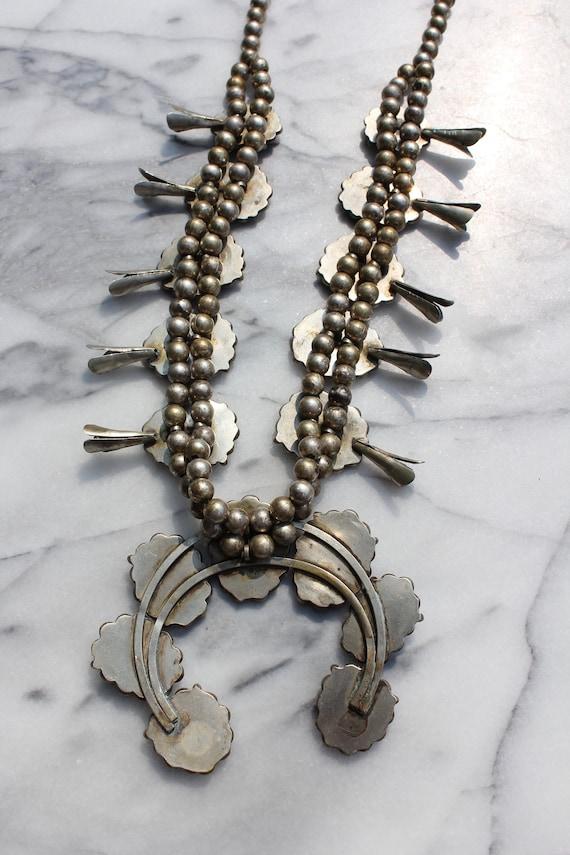Vintage Turquoise Squash Blossom Necklace - image 9