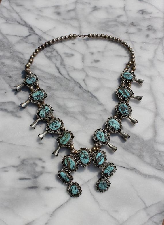 Vintage Turquoise Squash Blossom Necklace - image 7