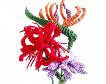 Macrame flowers /Birds of paradise flower/  Spider lily Flower/ Scabiosa Flowers