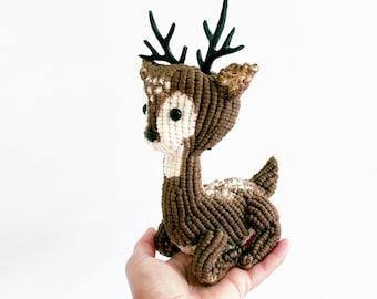 Macrame Deer/Deer Art /3D macrame/ Deer Decor/ Animal Art