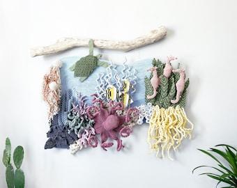 Macrame Ocean art/Coral reef art/ Nautical wall art/Macrame seahorse/macrame octopus/macrame turtle/ macrame jellyfish