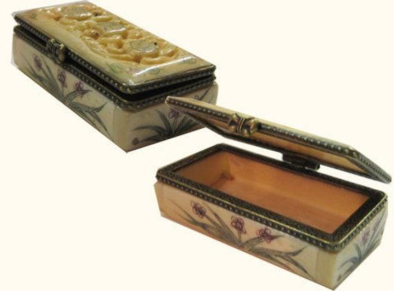 Oriental Hand Carved Bone Pill Box Etsy