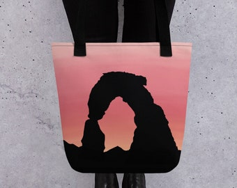 Delicate Arch Tote Bag, Sunset in Moab Utah at Arches National Park