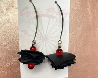 Halloween Earrings, Red and Black Jewelry, Long Dangle Earrings