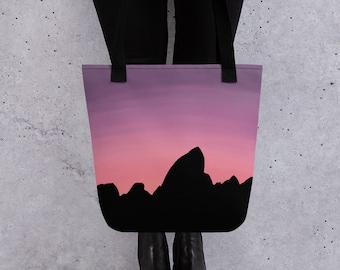 Teton Mountains Tote Bag, Watercolor Sunset Silhouette of the Grand Teton near Jackson, Wyoming