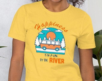 Van Life Camper T-Shirt, Happiness is in a Van by the River, Funny Graphic Tee