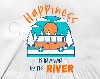 Happiness is in a Van by the River, Printable Download, Reusable Clipart