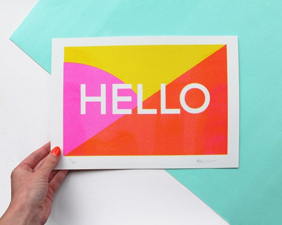Hello A4 Risograph Print, Colourful Wall Art for your home! Eco Friendly Home Decor