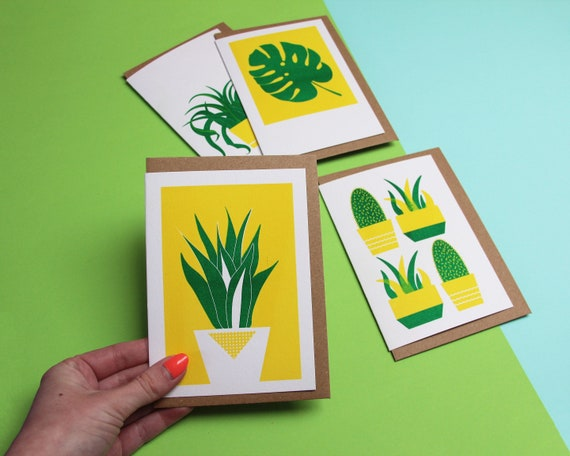 4-Pack of Risograph Plant Cards - Blank Notelets/Notecards