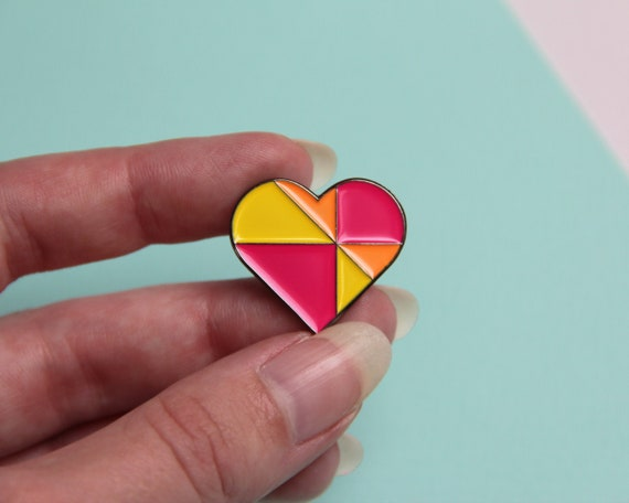 Heart Enamel Pin - Geometric Colourful Pin Badge