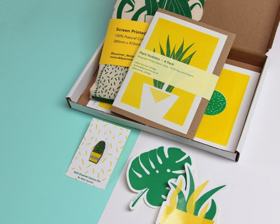 PLANT BUNDLE BOX - Selection of Plant Gifts, Risograph Prints, Cards, Stickers Tote Bag & Enamel Pin