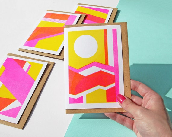 Card Pack - Set of 4 Cards, Risograph Printed Geometric Patterned Card Set in Pink & Yellow
