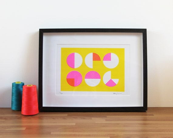Geometric Risograph Print - Yellow and Fluorescent Pink Circles - A4 Riso Print - Pattern, Art, Home Decor