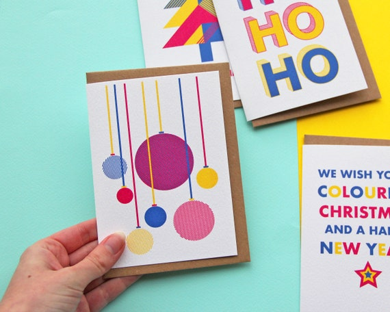 Christmas Cards 4-Pack - Colourful Christmas Greetings Cards: HoHoHo, Baubles, Christmas Tree