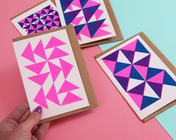 Pack of 4 Pattern Cards - Risograph Printed Blank Geometric Notelets/Notecards - Pink and Blue - 100% Recycled