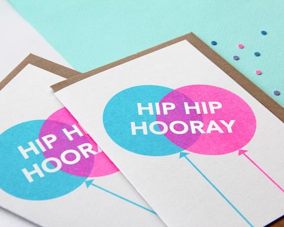Hip Hip Hooray Greetings Card - Risograph printed Celebration, Congratulations, Birthday Card