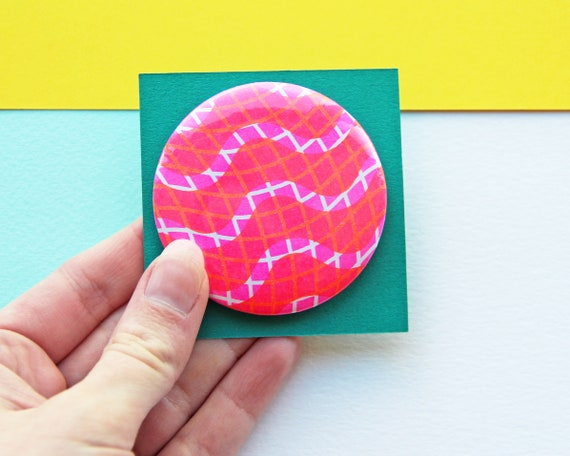 Squiggle Risograph Badge - Risograph Printed Button Badge - Large 58mm