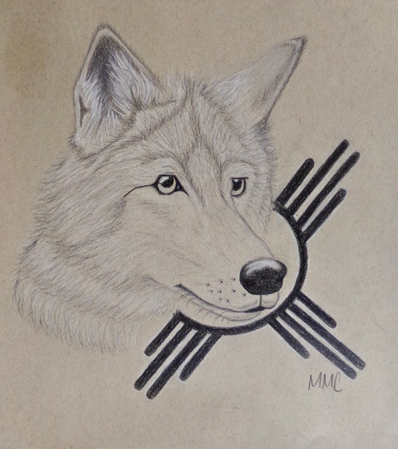 photo about Printable Wolf Pictures called PRINTABLE Wolf Zia Sketch Electronic Print
