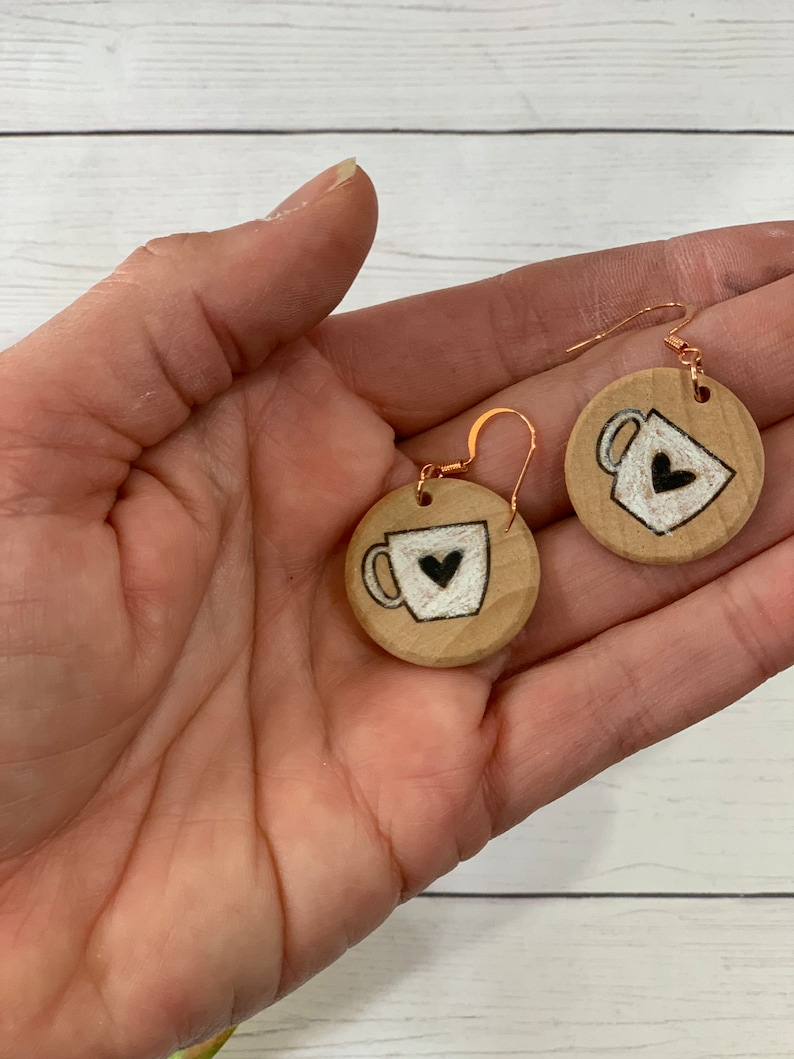 Coffee cup earrings boho jewelry gifts for girlfriend nickel free earrings eco friendly jewelry christmas gift from daughter jewelry