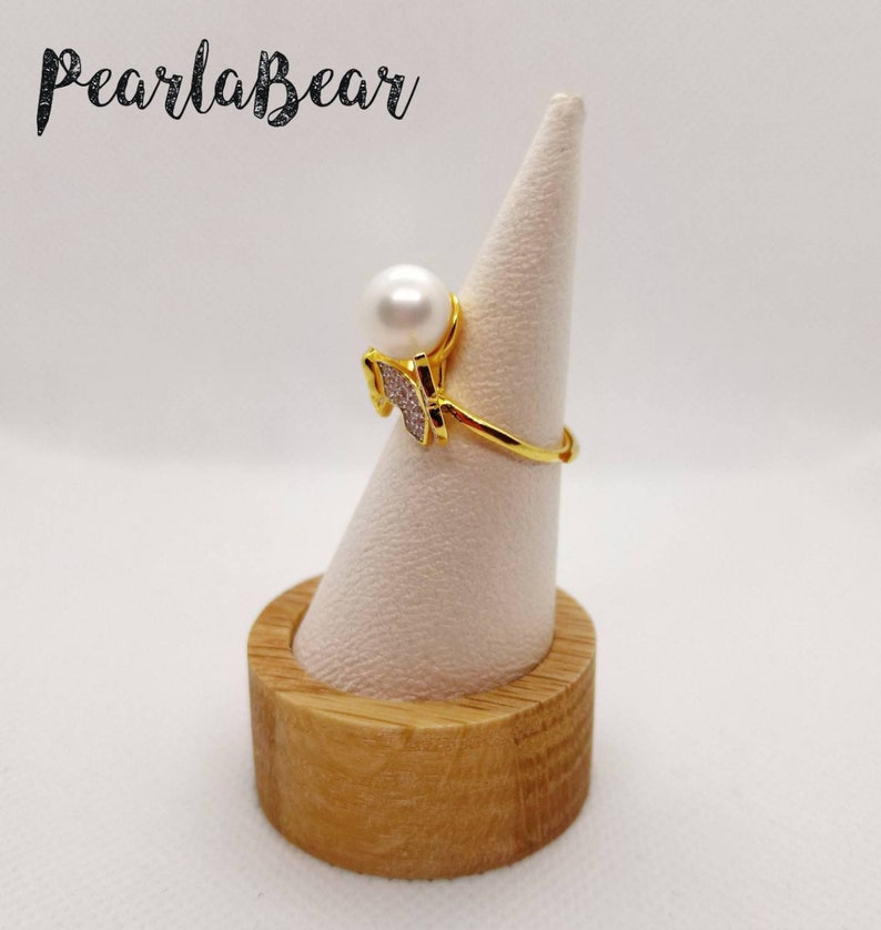 Gold Plated Sterling Silver Butterflies Adjustable Ring with Natural White Freshwater Pearl AAA grade 9.70mm