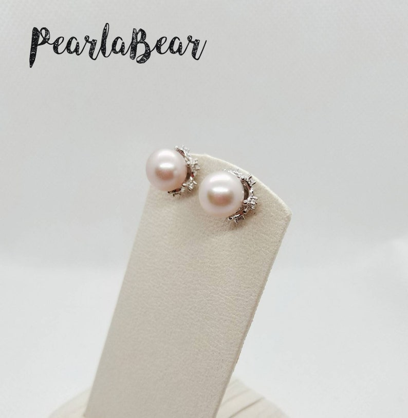 Sterling Silver Crown Jewel Statement Ear Studs with Pink  Freshwater Pearl 9.1-9.2mm