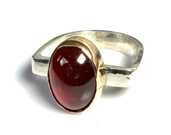 Modernist Sterling and Gold Ring FREE DELIVERY. Garnet Ring Boho Hippie Cabochon Garnet Ring Solid Silver Ring