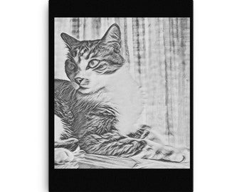 cat sketches etsy
