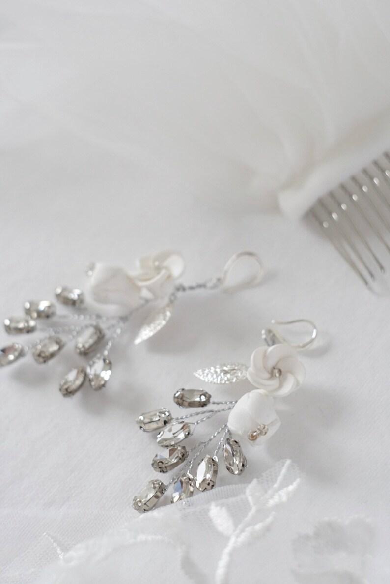 crystal earrings dangle earrings Flower earrings bridal jewelry statement earrings white wedding earrings Bridal earrings