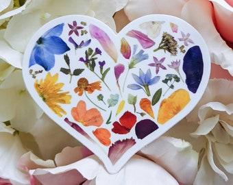 Pressed Flower Die Cut Vinyl Stickers   Rainbow Heart Sticker   Heart Stickers   Laptop Sticker   Pressed Flower Stickers