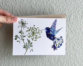 Blue Hummingbird Card   Pressed Flower Art Print Card   Hummingbirds   Mothers Day Card