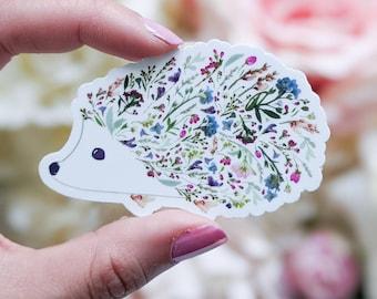 Pressed Flower Art Hedgehog   Hedgehog vinyl sticker   Hedgehog gifts   Gifts Under 5     Pressed Flower Stickers