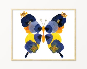 "Pressed Flower Art | Botanical Wall Art | Butterfly Print | Butterflies Print | Butterflies Poster | Butterflies Wall Art | 8""x10"" Print"