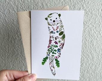 Pressed Flower Art Print Greeting Card, Blank Inside, Otter, Otter Art, Oceans, Sea Creatures Gift for Plant Lover, Gift for Gardener