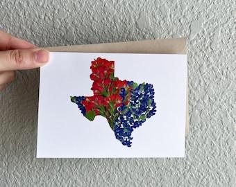 Pressed Flower Art Print Greeting Card, Blank Inside, Texas, Texas card, Texas Art, Lone Star State, Gift for Plant Lover, Gift for Gardener