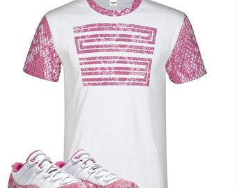 89a501a7a40 Snake Skin Print Pink | Retro Jordan 11 Colorblock T-shirt | Tee | All over  print | Shirt | Designed to Match Air Jordan 11 Sneakers XI 23