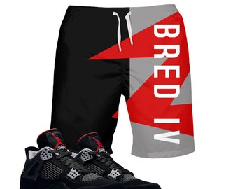 627cc97166c BRED | Retro Jordan 4 Colorblock Swim Fashion | Swimwear | Designed to  Match Air Jordan 4 Sneakers IV | Swim trunks