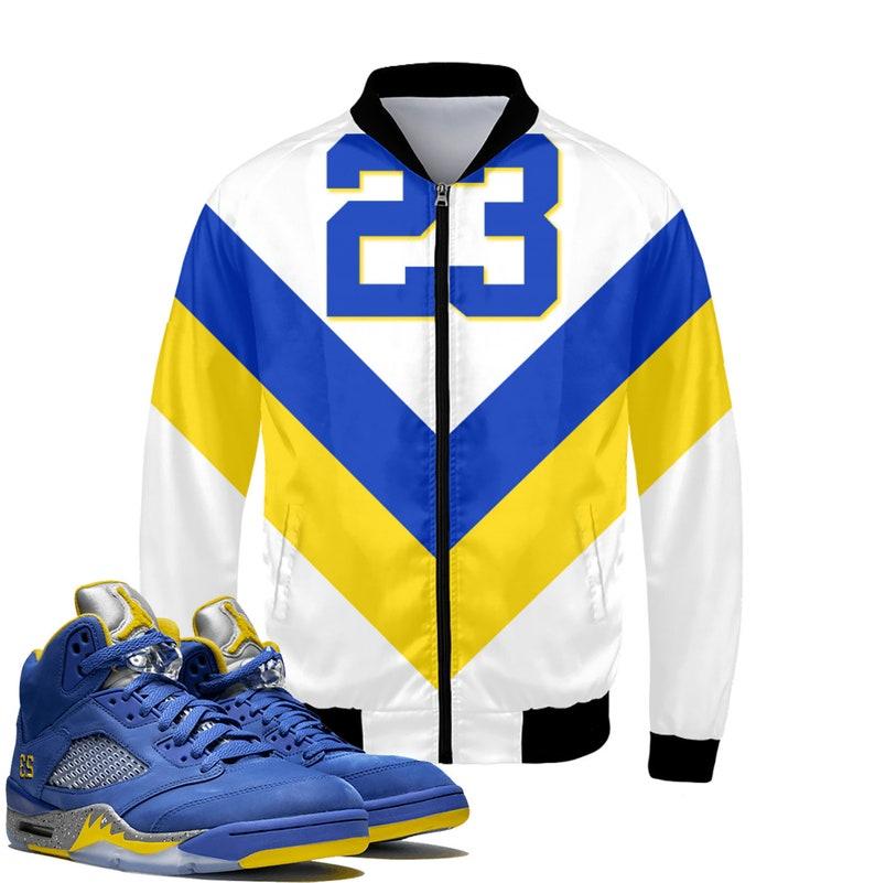 ef6ab4e9921 Tribe Retro Laney Jordan 5 Colorblock Bomber Jacket | Etsy
