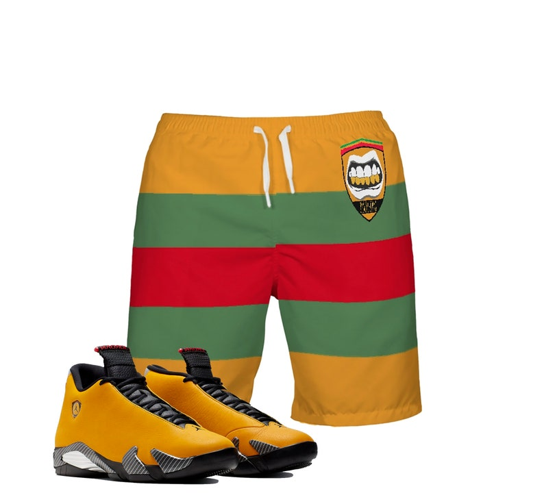 reputable site 091b3 4d352 KIDS | Ferrari | Retro Jordan 14 Reverse Colorblock Boys | Girls | Swim  Trunks | Designed to Match Air Jordan XIV Sneakers | Shorts