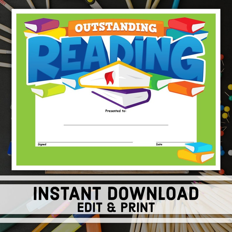 Outstanding Reading Certificate Instant Download Printable Etsy