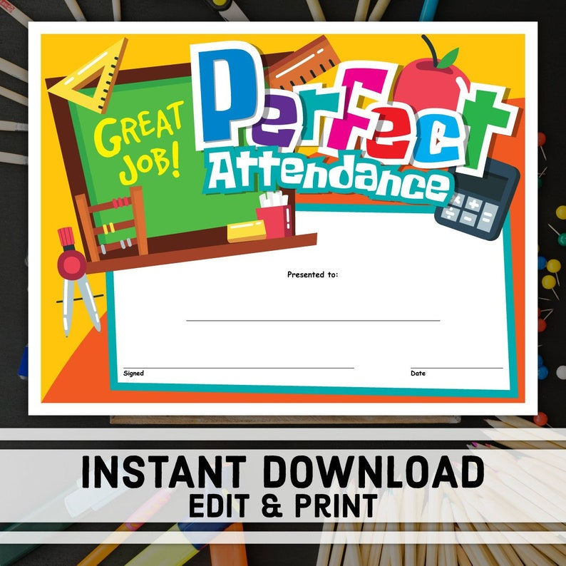 Comprehensive image inside perfect attendance certificate printable