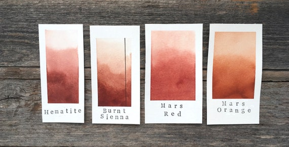 for Painting Mars Red Handmade Watercolor and Lettering Calligraphy