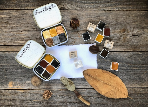 NEW: Make Your Own Watercolor Set + Get Free Tin Box for the Set of 6 - Green, Ochre, Purple, Blue, Black, Red - Handmade Paint