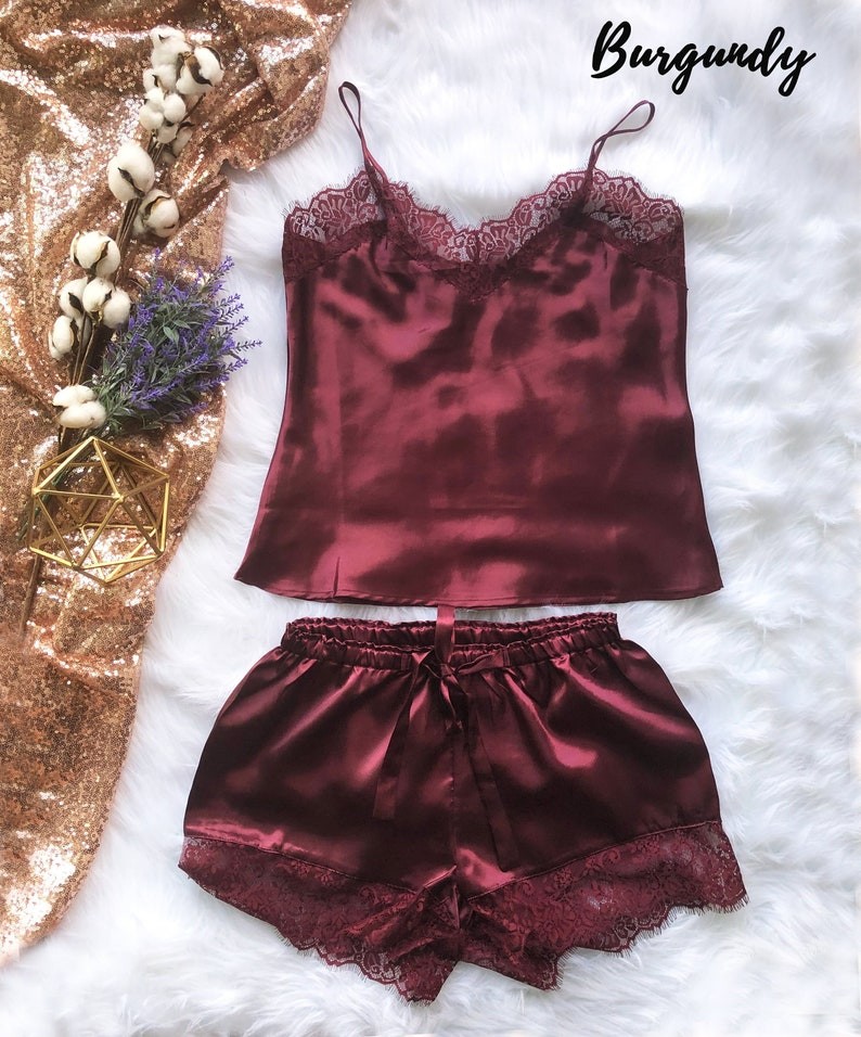 2272789ea1 Bridal satin and lace camisole and shorts set silky satin