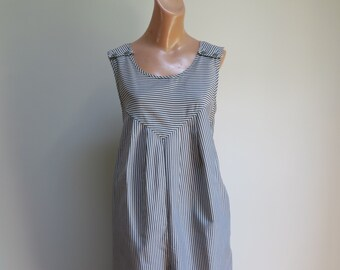 0c41218f210d Vintage 1980 s Oversized Blue and White Striped Jumpsuit Think Talking  Heads Stop Making Sense
