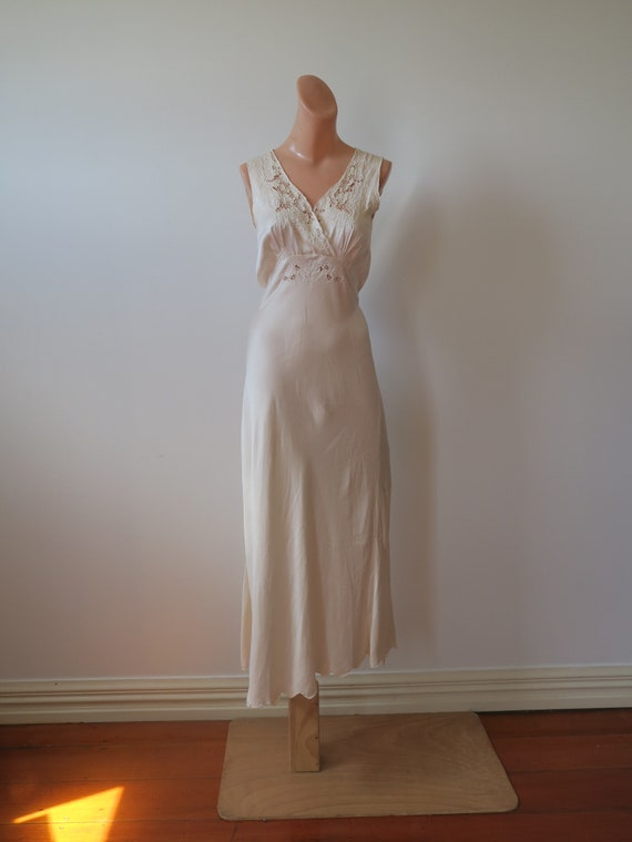 Vintage 1930's Bias Cut Full Length Champagne 100%