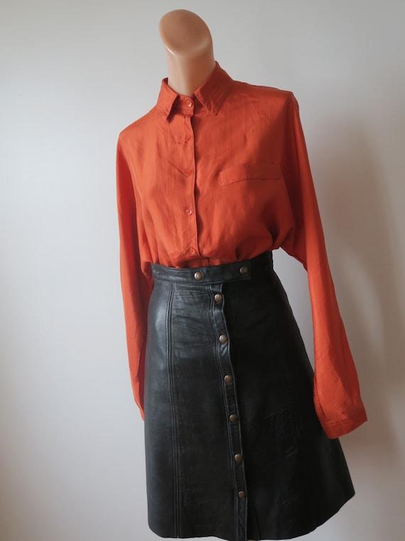 Vintage Burnt Orange Silk Batwing Sleeved Blouse f