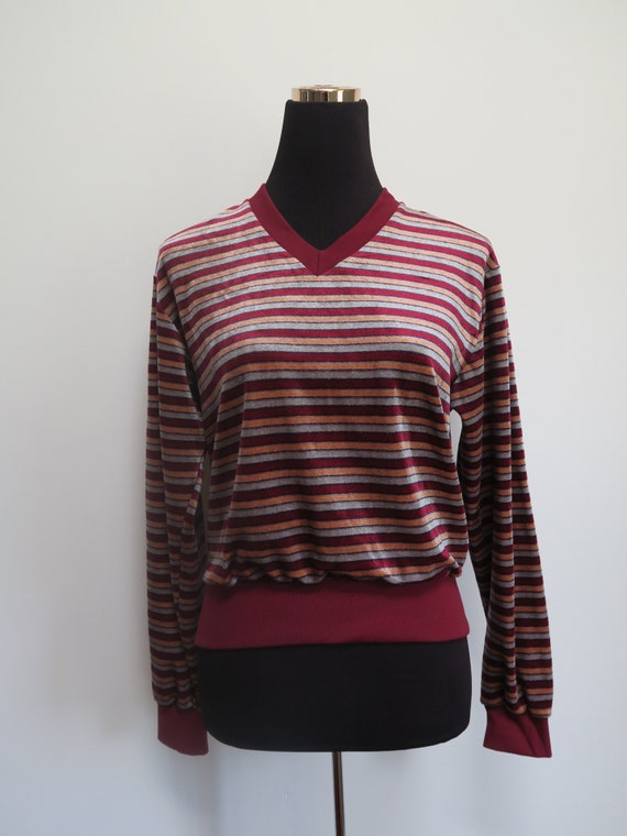 Vintage 1970's/Early 1980's Velour Striped Red Bur