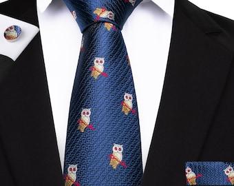 1d999764fc New Designer Brand Necktie For Men Blue Owl Pattern Jacquard Woven Silk Tie  Pocket Square Cufflinks Set Casual Suit
