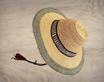 7f7cd1a44e3 Authentic Large African Unisex Raffia Straw sun Hat with adjustable or  removable Leather chin strap